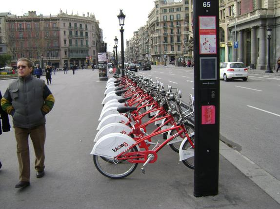 'Bicing' station in Barcelona. Public Bicycle Programme
