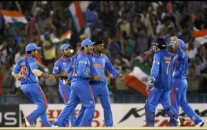 India team, cheering after wicket of Shahid Afridi